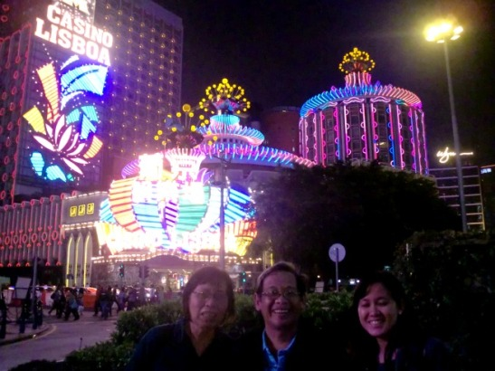 Mama, Papa and me in front of the Grand Lisboa