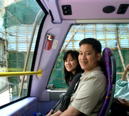 My brother and I inside Bus 6